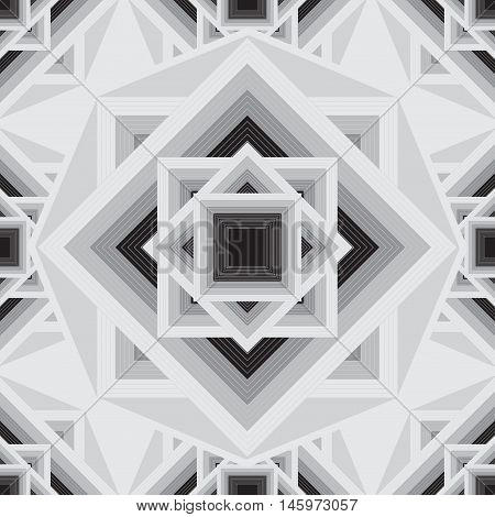 Vector geometric black and white seamless pattern. Stylish Aztec mandala squares background.