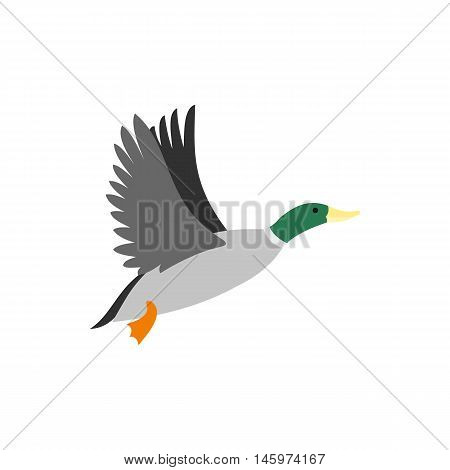 Duck icon in flat style isolated on white background. Waterfowl symbol vector illustration