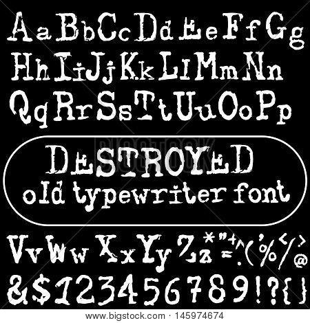 Vector old typewriter font. Vintage font. Old grunge font. Vector illustration