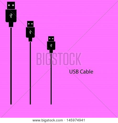 USB a cable on a pink background. Vector illustration