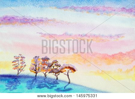 hand painted watercolor landscape with dramatic sky with clouds hill and trees
