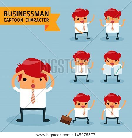 Set of businessman characters poses expressing feeling and emotional concept office worker. Elements for design. Vector illustration isolated on light blue background.