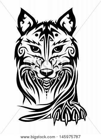 Vector Elegant Wolf Face and Paw Tribal Tattoo isolated on white background