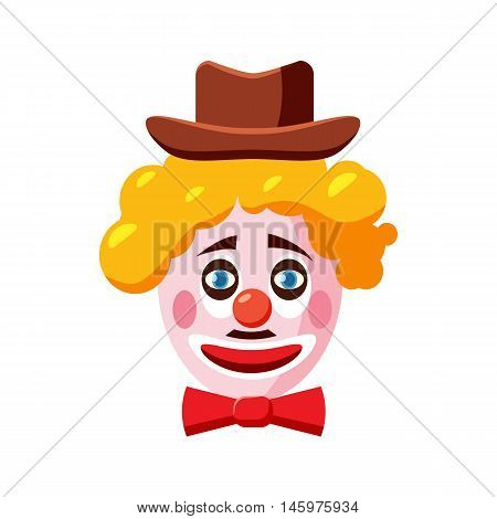 Clown face with hat icon in cartoon style isolated on white background. Attraction symbol vector illustration