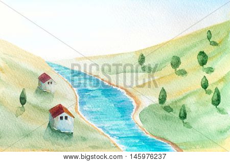 watercolor hand painted landscape with river houses and trees