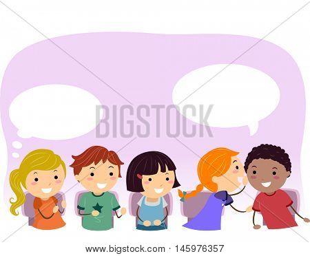 Stickman Illustration of Kids Passing a Message Around