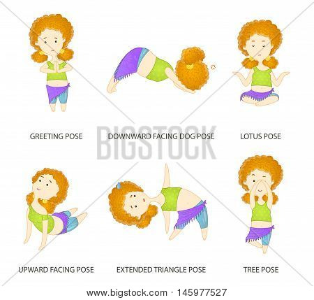 Yoga pose set. Cute curly red haired yogi girl character performs six asanas positions of yoga. Freehand drawing doodles vector illustration