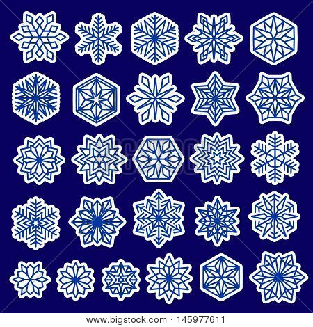 Snowflakes stickers set. Line design snow flakes, isolated on blue background. Vector snow Christmas decoration for greeting card, winter sales banner. New Years design elements collection.