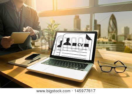 Cv   (job Interview Concept With Business Cv Resume)