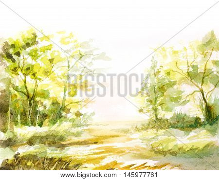 natural landscape with trees grass made with abstract brush strokes. watercolor painting