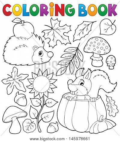 Coloring book autumn nature theme 1 - eps10 vector illustration.