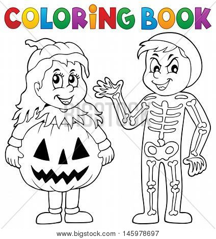 Coloring book Halloween costumes theme 1 - eps10 vector illustration.