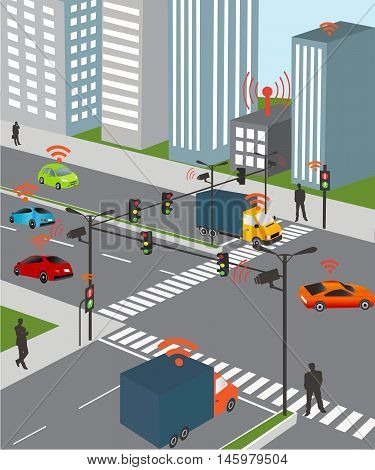 Communication that connects cars to devices on the road such as traffic lights sensors or Internet gateways. Wireless network of vehicle. Smart Car Traffic and wireless network Intelligent Transport Systems