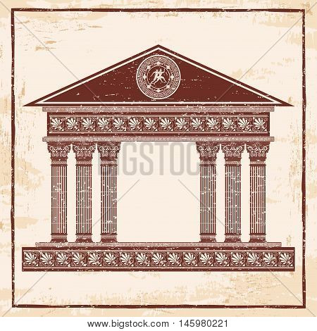 Ancient Greek temple with columns. Vector image with the effect of aging.
