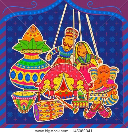 Vector design of Indian art style Subh Vivah Happy Wedding message
