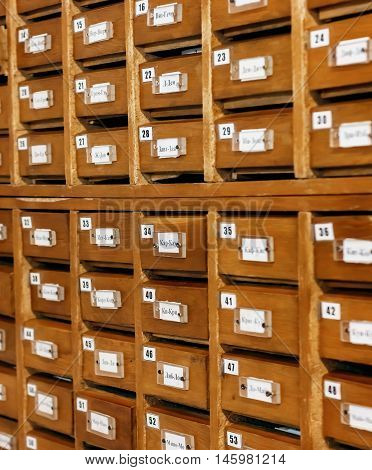 Card Catalog In The Library. Wooden Cell, Very Soft Focus