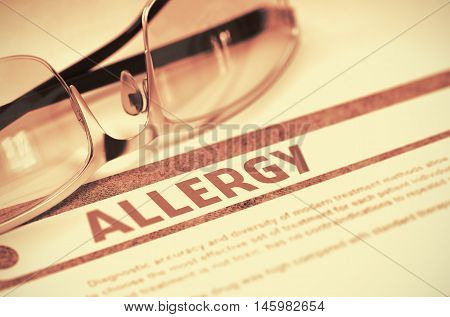 Allergy - Medical Concept with Blurred Text and Pair of Spectacles on Red Background. Selective Focus. 3D Rendering.