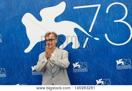 Wim Wenders  at the photocall for Les beaux jours d'aranjuez at the 2016 Venice Film Festival. September 1, 2016  Venice, Italy