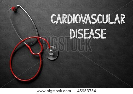 Medical Concept: Cardiovascular Disease -  Black Chalkboard with Hand Drawn Text and Red Stethoscope. Top View. Medical Concept: Cardiovascular Disease Handwritten on Black Chalkboard. 3D Rendering.