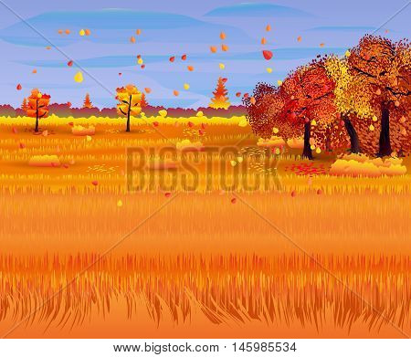 Autumn nature landscape with forest and field. vector illustration