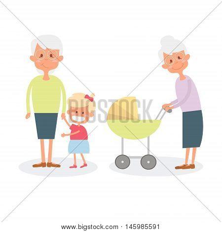 Happy grandmother with grandchildren. Cute Senior woman with granddaughter. Vector Illustration of happy retirement grandparents