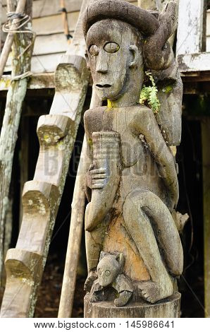 Traditional Dayak tribal culture. Detail Dayak (wooden totem) house - longhouse in Borneo. East Kalimantan Indonesia