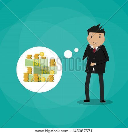 Business man dreaming about money. vector illustration in flat style on green background
