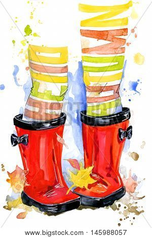 Autumn. Baby girl in rubber boots. Red rubber boots. Hello, autumn watercolor background. Autumn Walk background.