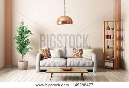 Modern Living Room With Sofa Interior 3D Rendering