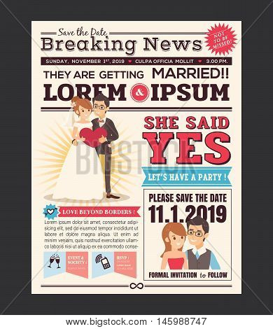 Couple Cartoon Newspaper Journal Wedding Invitation Vector Design Template