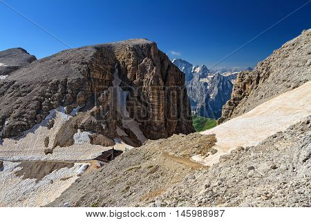 Dolomiti - Sass pordoi pass in Sella group Trentino Italy