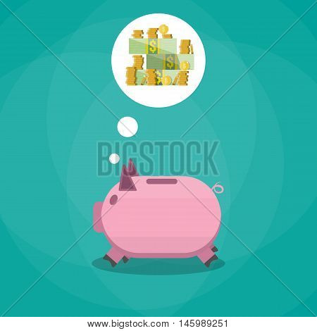 pink piggy bank dreaming about money. vector illustration in flat style on green background