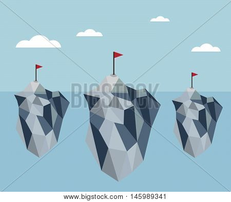 ice berg with red flag polygon background vector