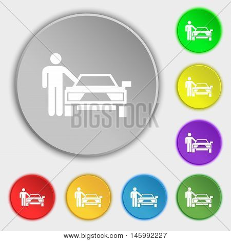 Person Up Hailing A Taxi Icon Sign. Symbol On Eight Flat Buttons. Vector