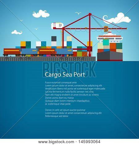 SeaPort, Cranes Load Containers on the Container Ship ,Cargo Train Transports Containers, Sea Freight Transportation, Poster Brochure Flyer Design ,Vector Illustration