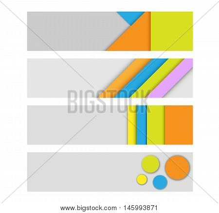 Geometric modern vector headers. Simple colorful paper banners