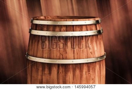 Wooden winemaking barrel 3d illustration on wooden background