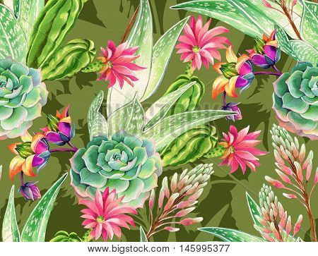 seamless pattern with succulents and cactuses. Blossoming succulents design in watercolor illustration. succulents bouquets for textile, fashion, interior. camouflage dark green, khaki color.