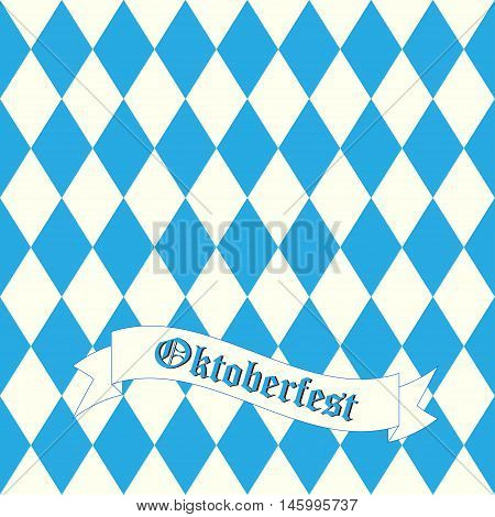 Oktoberfest design on white background. German text celebration abstract fabric Oktoberfest blue background. Bavarian munich Oktoberfest blue background banner pattern vector.