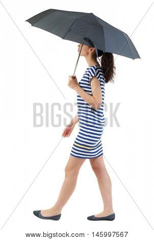 young woman in dress walking under an umbrella. Swarthy girl in a checkered dress comes in the rain.