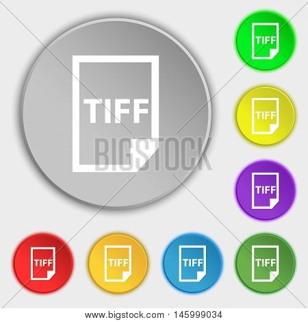 Tiff Icon. Sign. Symbol On Eight Flat Buttons. Vector