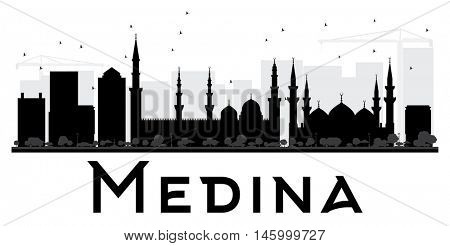 Medina City skyline black and white silhouette. Vector illustration. Simple flat concept for tourism presentation, banner, placard or web site. Business travel concept. Cityscape with landmarks
