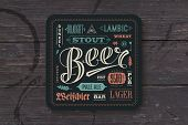 Coaster for beer with hand drawn lettering. Colorful vintage drawing for bar, pub and beer themes. For placing a beer mug or a beer bottle over it with lettering for beer theme. Vector Illustration poster