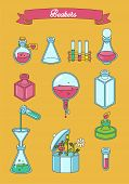 Set of apothecary and medical beakers laboratory flasks poster