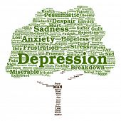 Vector concept conceptual depression or mental emotional disorder tree word cloud isolated on background metaphor to anxiety, sadness, negative, sad, problem, despair, unhappy, frustration symptom poster