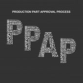 Production part approval process typography background. Dark background with main title PPAP filled by other words related with production part approval process method. Vector illustration poster