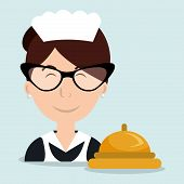 housekeeper woman maid hotel vector illustration design poster