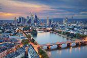 Frankfurt am Main. Image of Frankfurt am Main skyline during twilight blue hour. poster