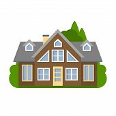 Isolated brown house. Simple suburban house. Concept of real estate, property and ownership. poster