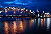 Bridge of Peter the Great St. Petersburg moonlit night on the river Neva poster